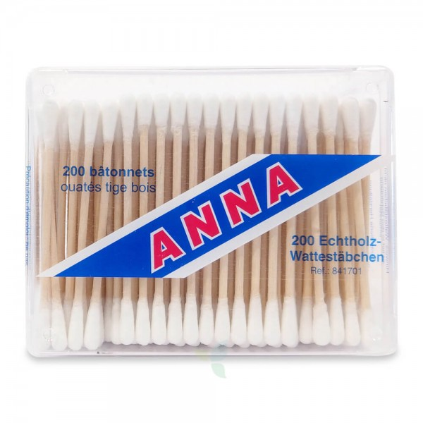 ANNA Wattestäbchen Holz 200 Stück