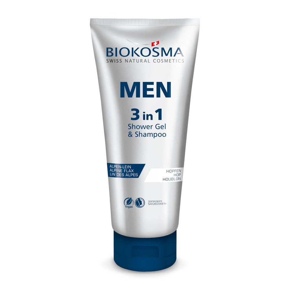 BIOKOSMA Men 3in1 Shampoo & Showergel Tube 200ml