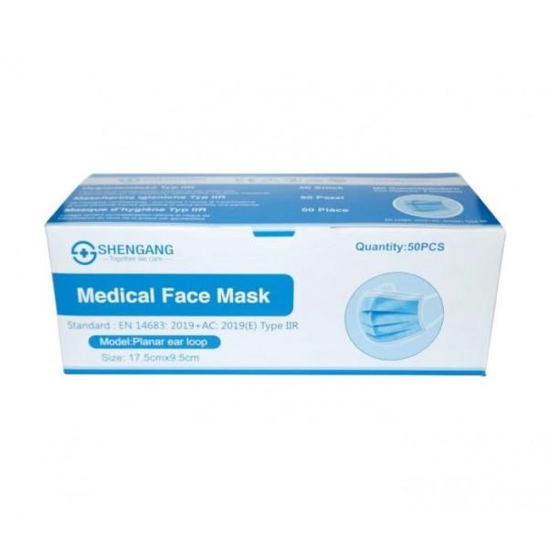 Shengang Medical Mask Typ IIR EN 14683 Schutzmaske 50 Stk blau